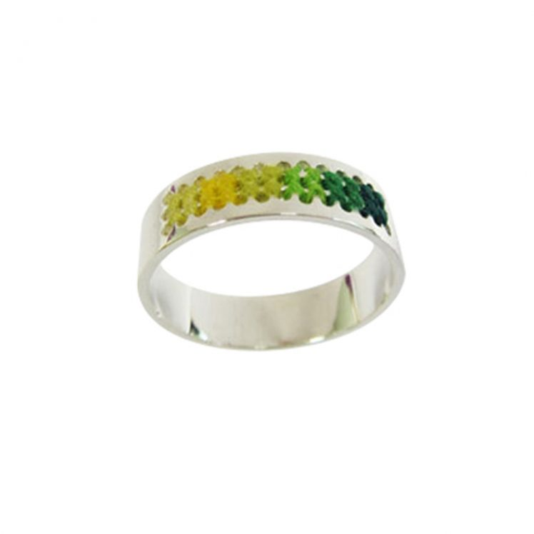 Embroidery ring green/yellow shade