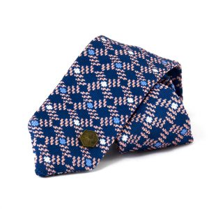 Huygens knitted tie - Blue Pink White