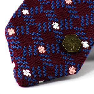 Huygens knitted tie - Bordeaux Blue Pink White