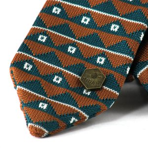 De Groot knitted tie - Petrol brown