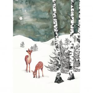 Postcard Deers in Winter Night