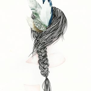 Art Print Girl with Feathers