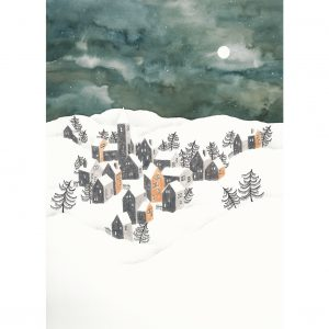Postcard Winter Landscape Ochre Houses