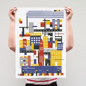 Rectangle city, Limited Linocut print