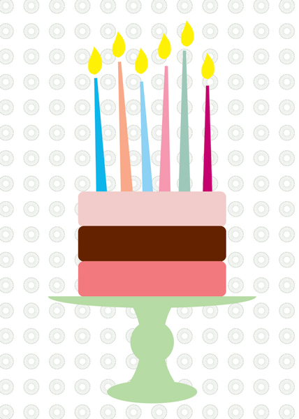 A6 birthday card cake with candles - blk-v13