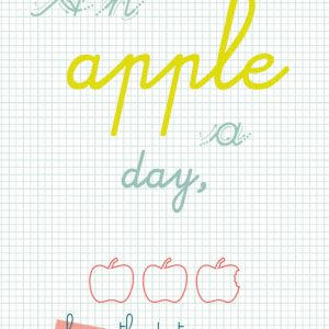 A6 card an apple a day'- blk-txt2