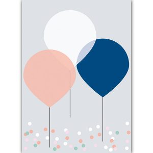 A6 birthday card balloon - blk-v17