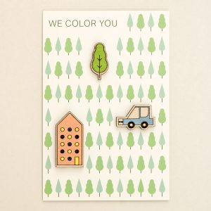 House, tree, car, three brooches