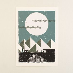 Full moon, tiny shelter, Limited linocut print