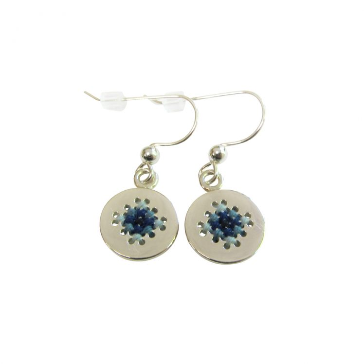 Embroidery earrings small blue