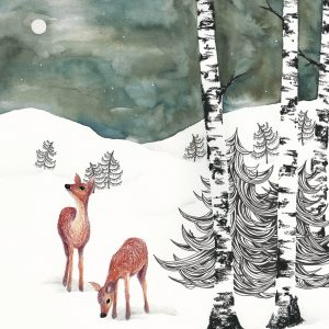 Art Print Deers in Winter Night