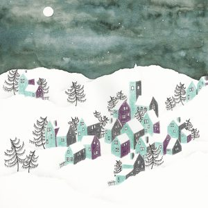 Art Print Winter Landscape Blue Houses