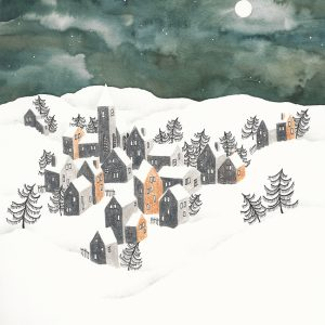 Art Print Winter Landscape Ochre Houses